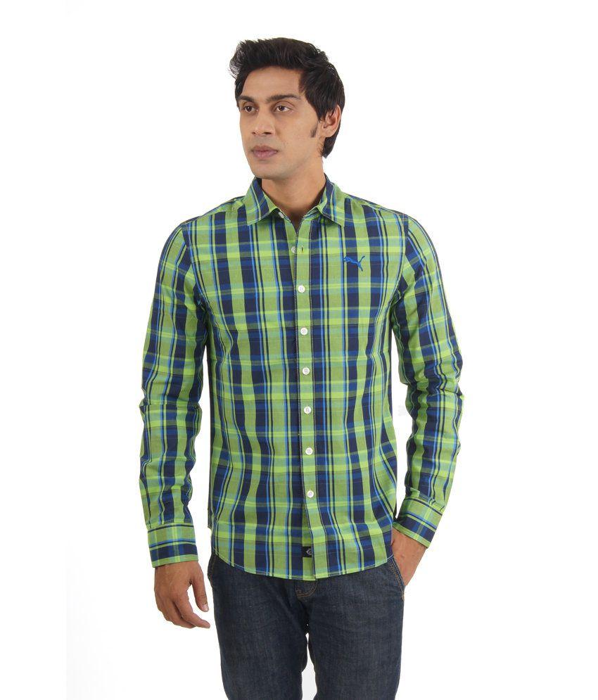 Puma Green Cotton Full Sleeves Casual Shirt