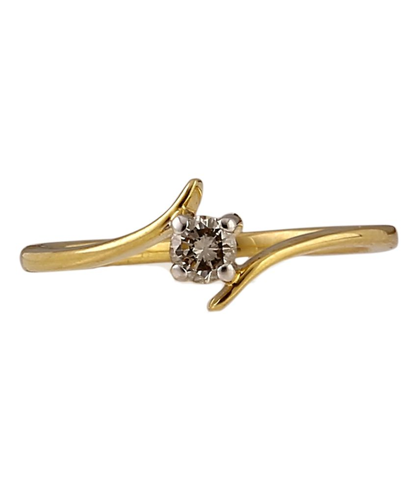 Ratnam Designer 18k Real Diamond Single Solitaire Ladies/girls Ring