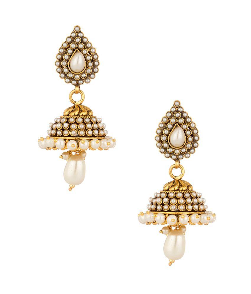 Voylla Gold Plated Pearl Encrusted Jhumki Drop Earrings