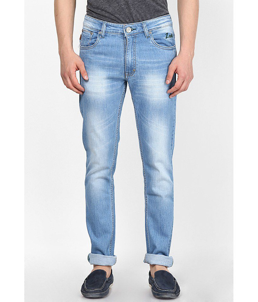 Zaab Light Blue Cotton Regular Fit Denim Jeans