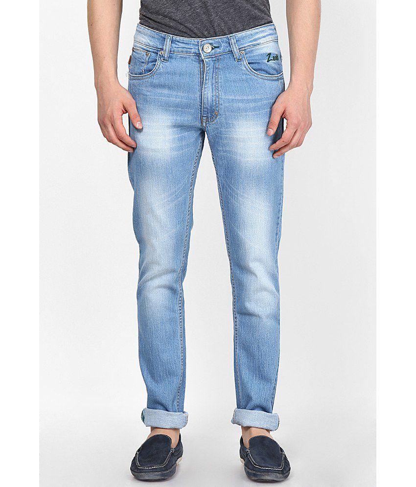 Zaab Light Blue Cotton Regular Fit Denim Jeans