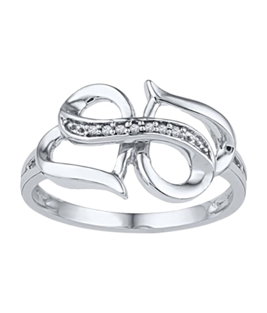 Amogh Jewels Two Heart Design Natural Diamond 92 5 Sterling Silver