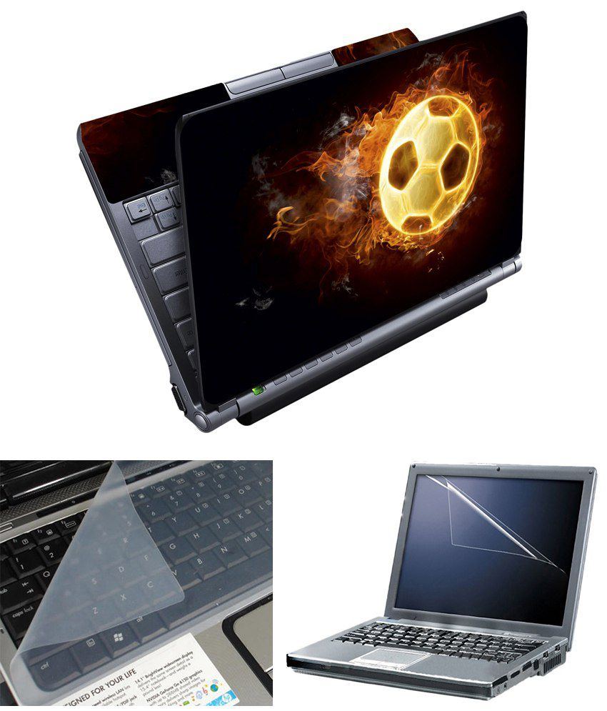 Finearts Full Panel Textured Laptop Skin - Football On Fire With Screen Guard And Keyboad Protector Printed