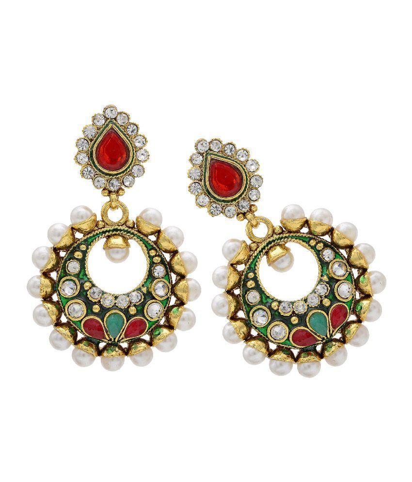 Hyderabad Jewels Antique Golden Copper Earrings