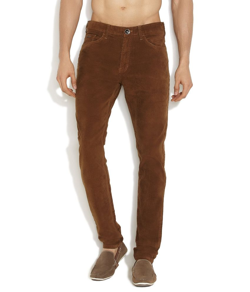 Indigo Nation Brown Casual & Cool Corduroy Pants