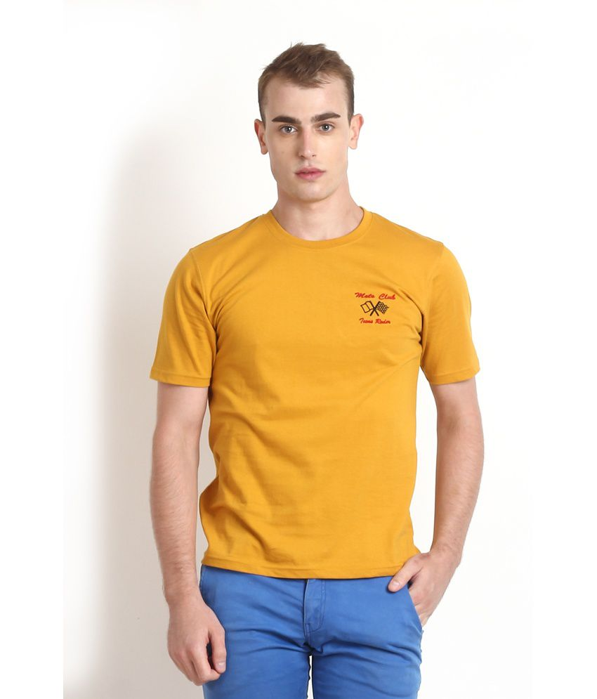Teen Tees Yellow Cotton Round Neck Printed T-shirt