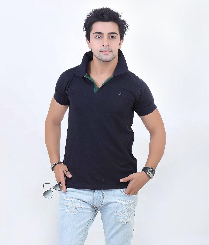 Xact Navy Blue Cotton Half Sleeve T-shirt