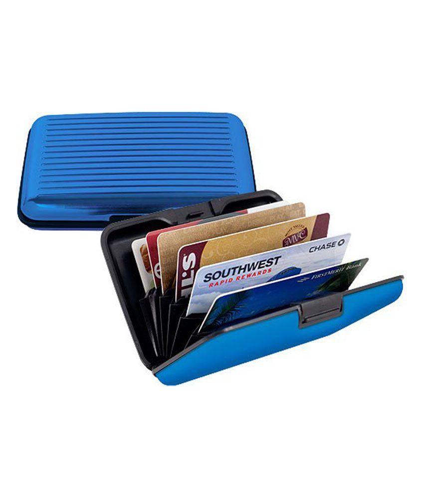 Best Blue Aluminium Casual Card Holder - 2 Pcs