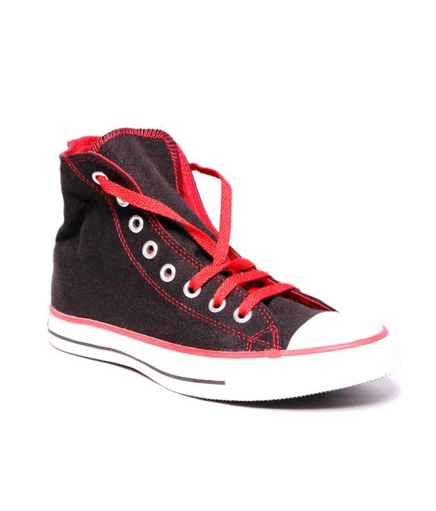 converse black red