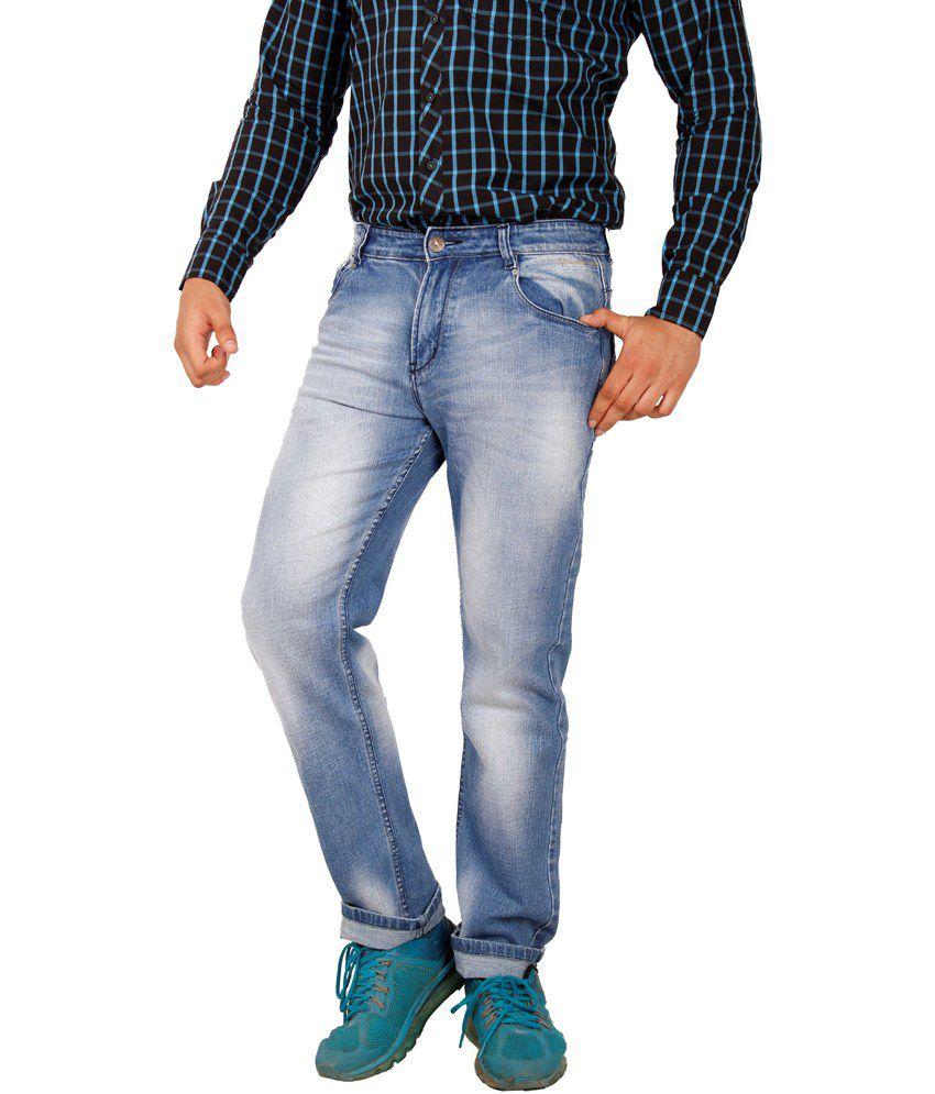 Crocks Club Blue Cotton Blend Slim Men's Trouser
