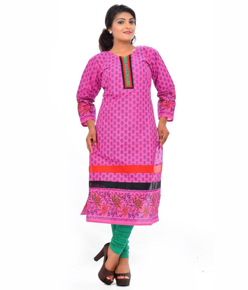 Pranjal Creations Pink Full Long Straight Side Cut Pakistani Style Kurta