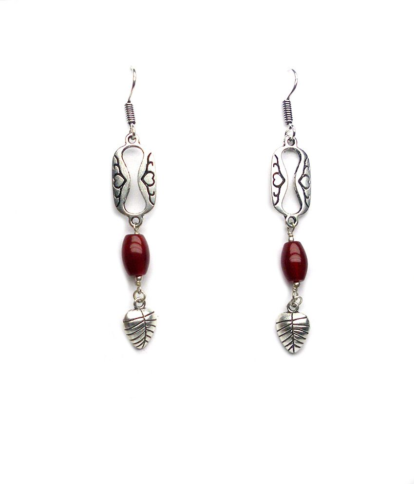 Silvantra Designer Jhumka Dangle Style Metal Earrings In Silver Plated.