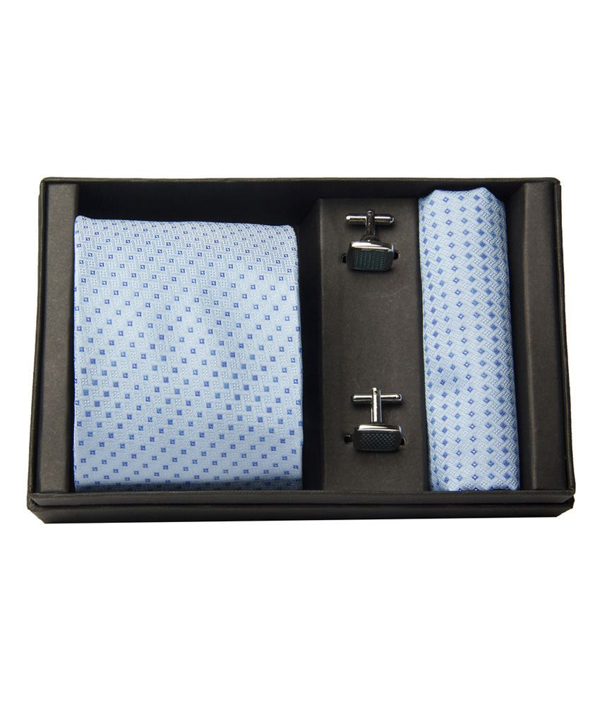 Buckleup Blue Silk Printed Broad Tie With Cuff Links And Pocket Square