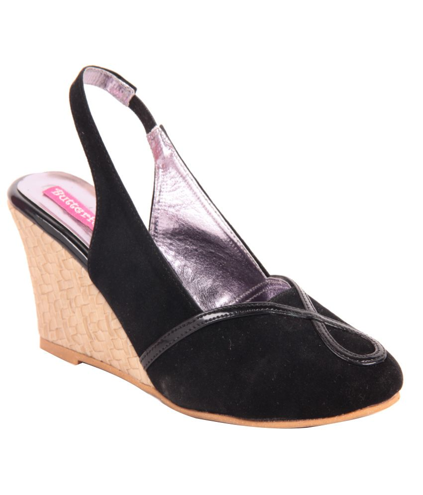 Butterfly Black Wedges Sandals