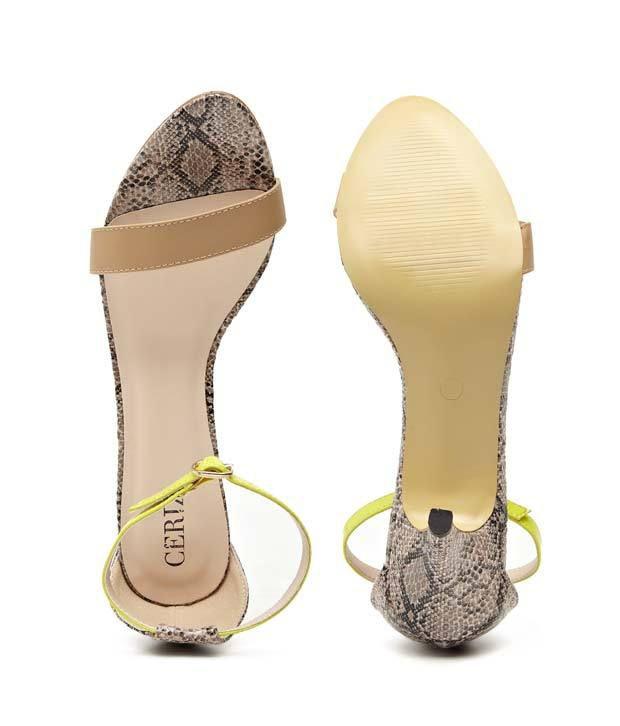 82b0f9c6064 Ceriz Pink Sssssexy Snake Skin Print Heels Price in India- Buy Ceriz ...