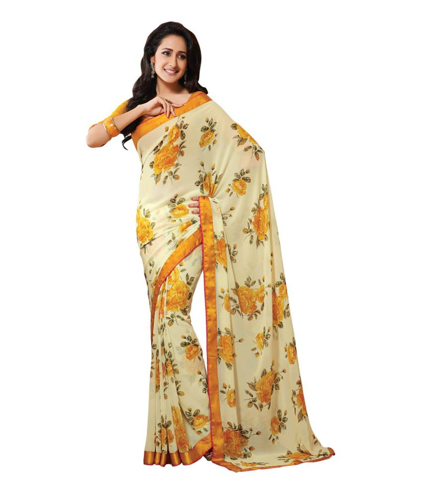 Colors Fashion Cream And Yellow Floral Print Faux Georgette Latest Designer Saree With Blouse Piece