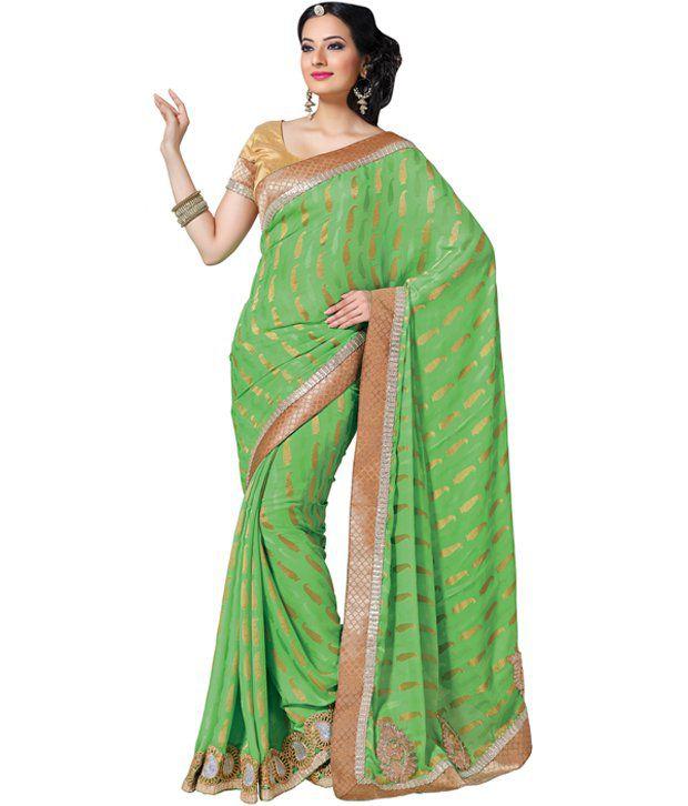 Saree Swarg Green Semi Chiffon Saree Buy Saree Swarg