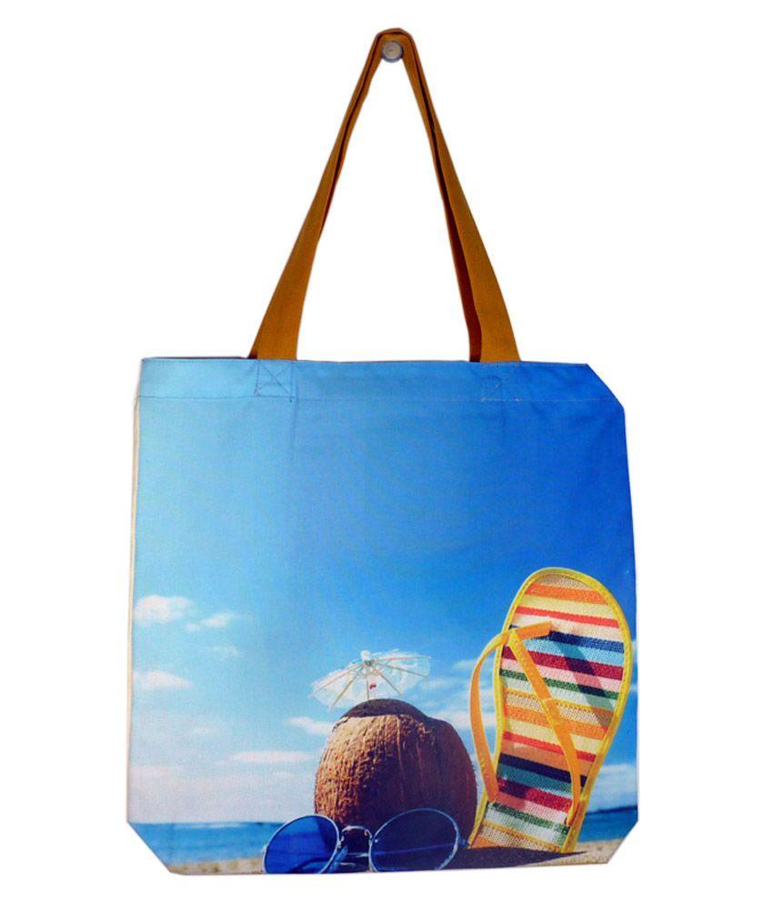 Authentic Green Bag Blue Digitally Printed Zip Tote Bags