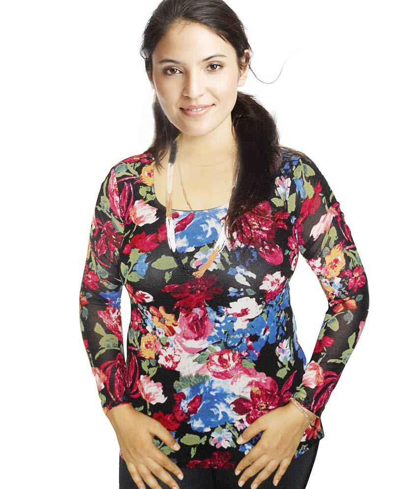 Trend Knit Full Sleeves Flower Print Top With Lining.