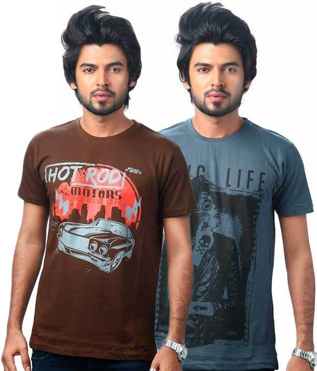 Uk Tribes Brown And Darkgrey Cotton Half Printed T-shirt - Pack Of 2