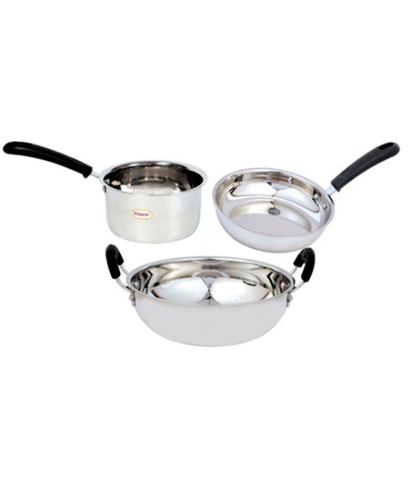 elegante stainless steel induction compatible cookware set 3 pcs buy online at best price in. Black Bedroom Furniture Sets. Home Design Ideas