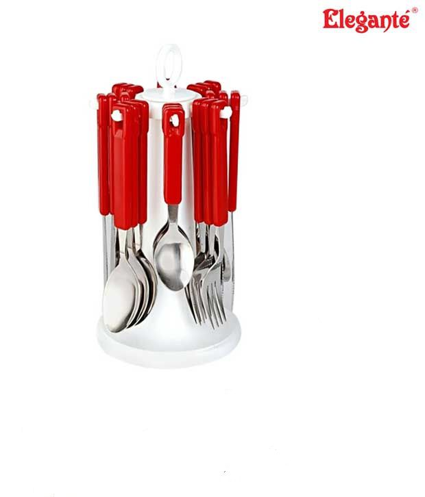 Elegante Tablecraft Deep Red Cutlery Set With Stand