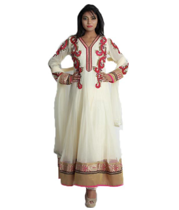 Maurvi's Off White Color Anarkali Suit With Multi Color Embroidary