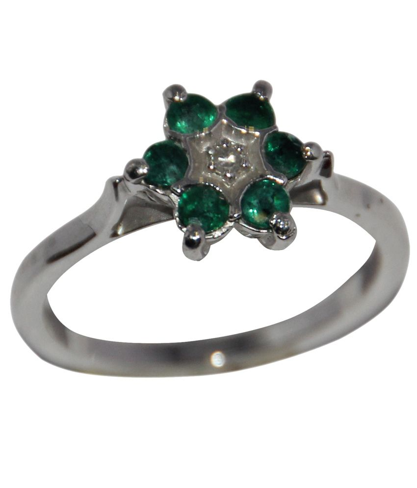Rajasthan Gems 925 Sterling Silver Ring With Real Emeralds And Real Diamond