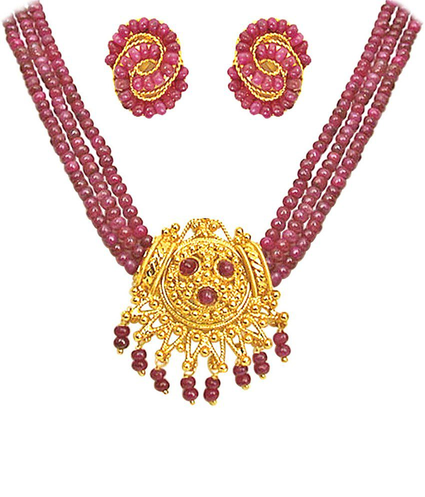 7ab754a17b Surat Diamond Real Ruby & Gold Plated Necklace Set - Buy Surat Diamond Real  Ruby & Gold Plated Necklace Set Online at Best Prices in India on Snapdeal
