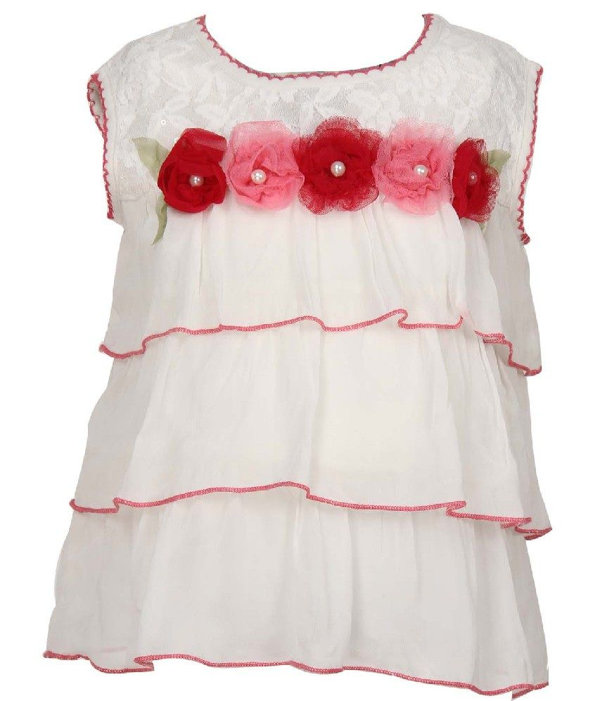 Daffodils Sleeveless Cream Color Tops For Kids