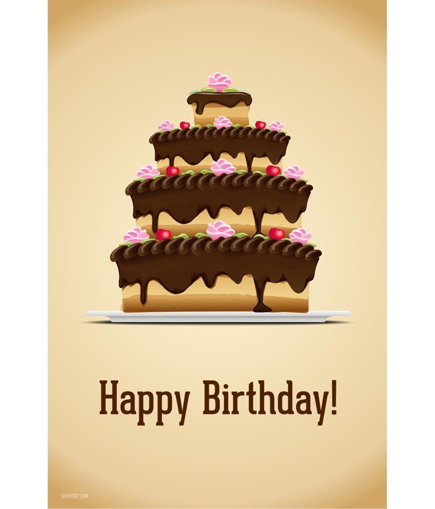 Shopisky Poster Delightful Birthday Cake Yellow Buy Shopisky