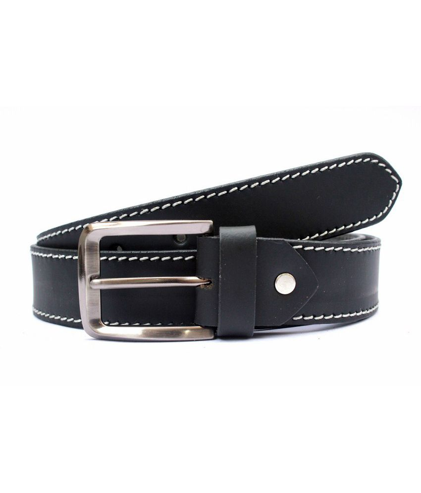 Tops Black Coloured Single Stitched Leather Belt