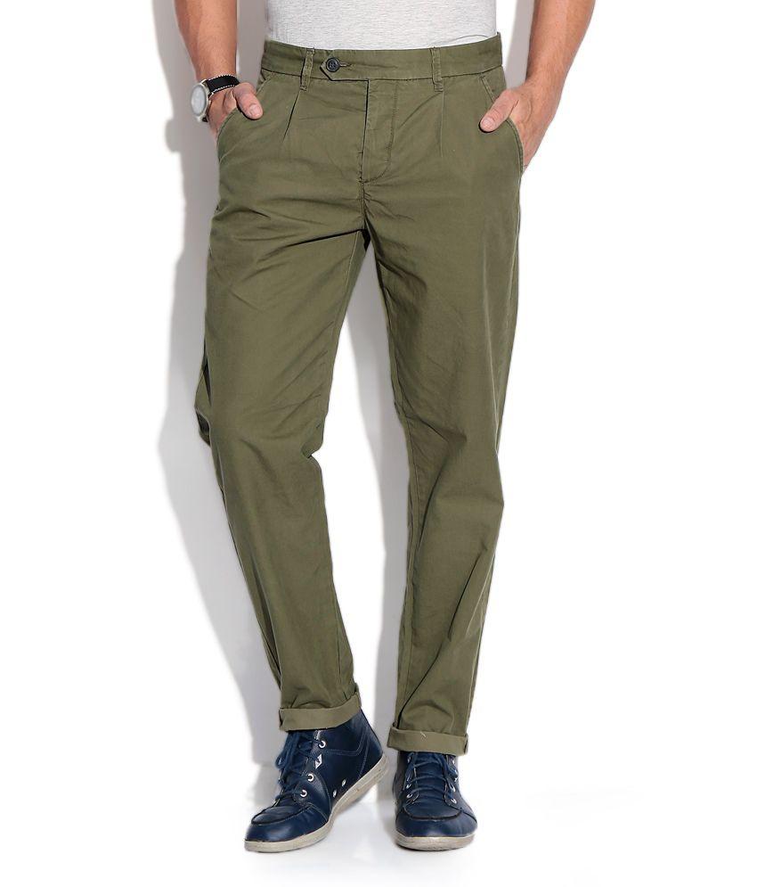 Jack & Jones Green Regular Casuals Trousers & Chinos