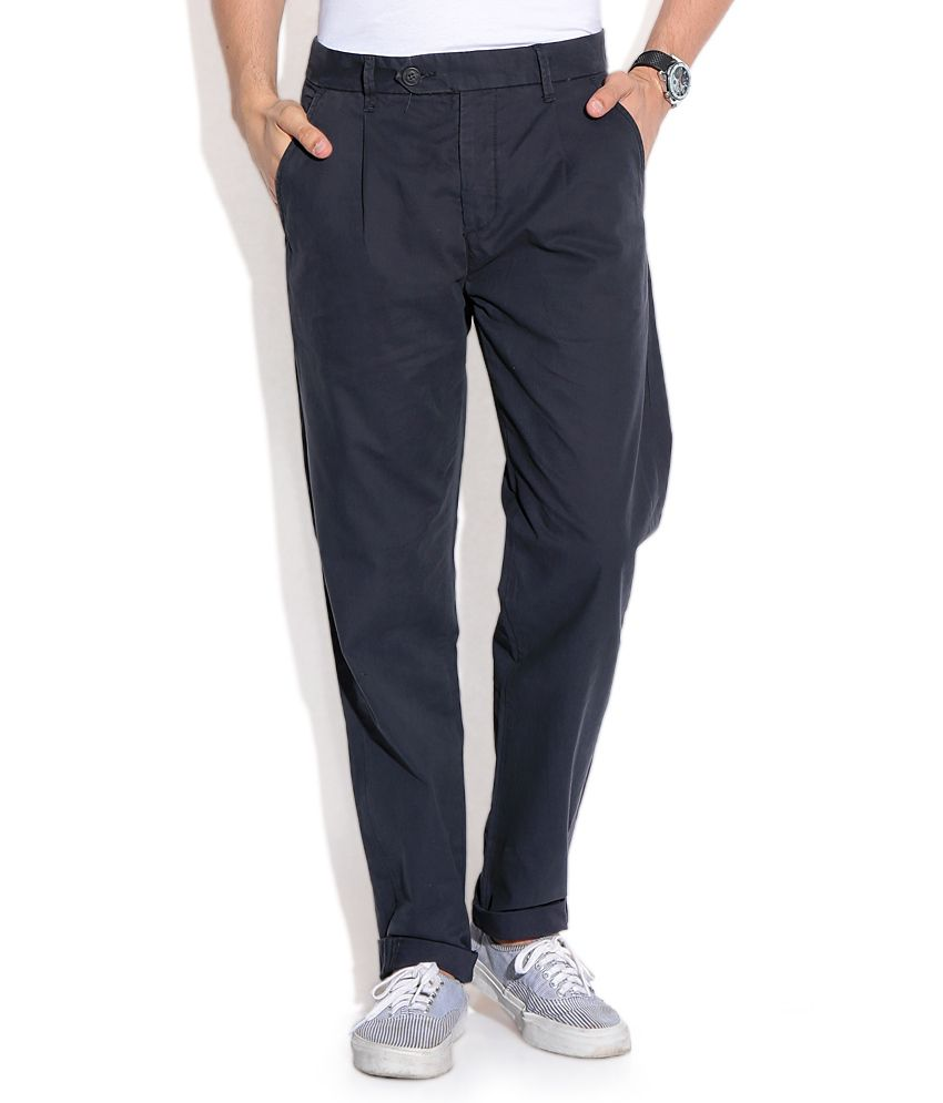 Jack & Jones Navy Regular Casuals Trousers & Chinos