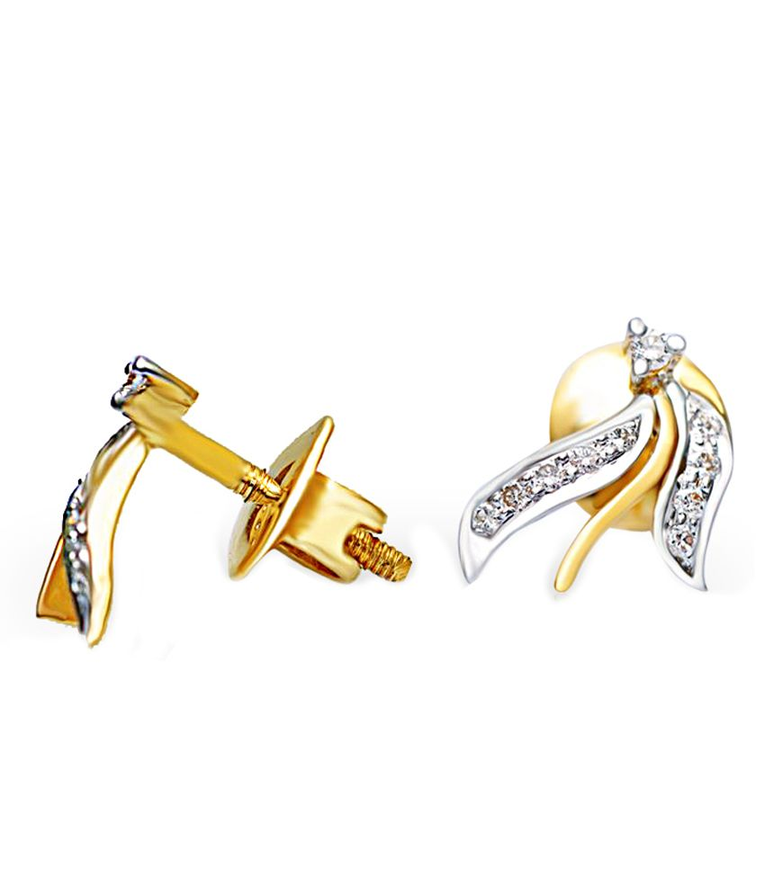Jacknjewel Open Leaf Glistering Contemporary Diamond Earrings