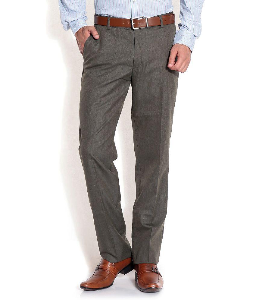 John Players Gray Slim Formals Trousers & Chinos
