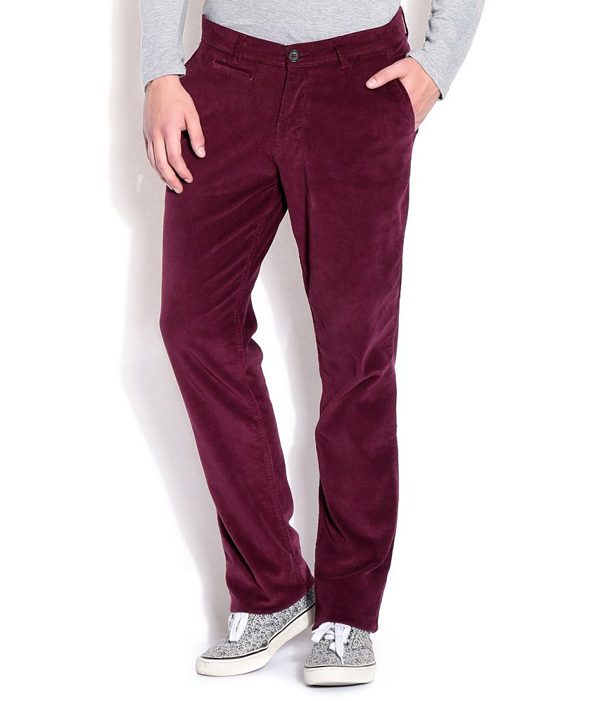 John Players Maroon Slim Casuals Trousers & Chinos