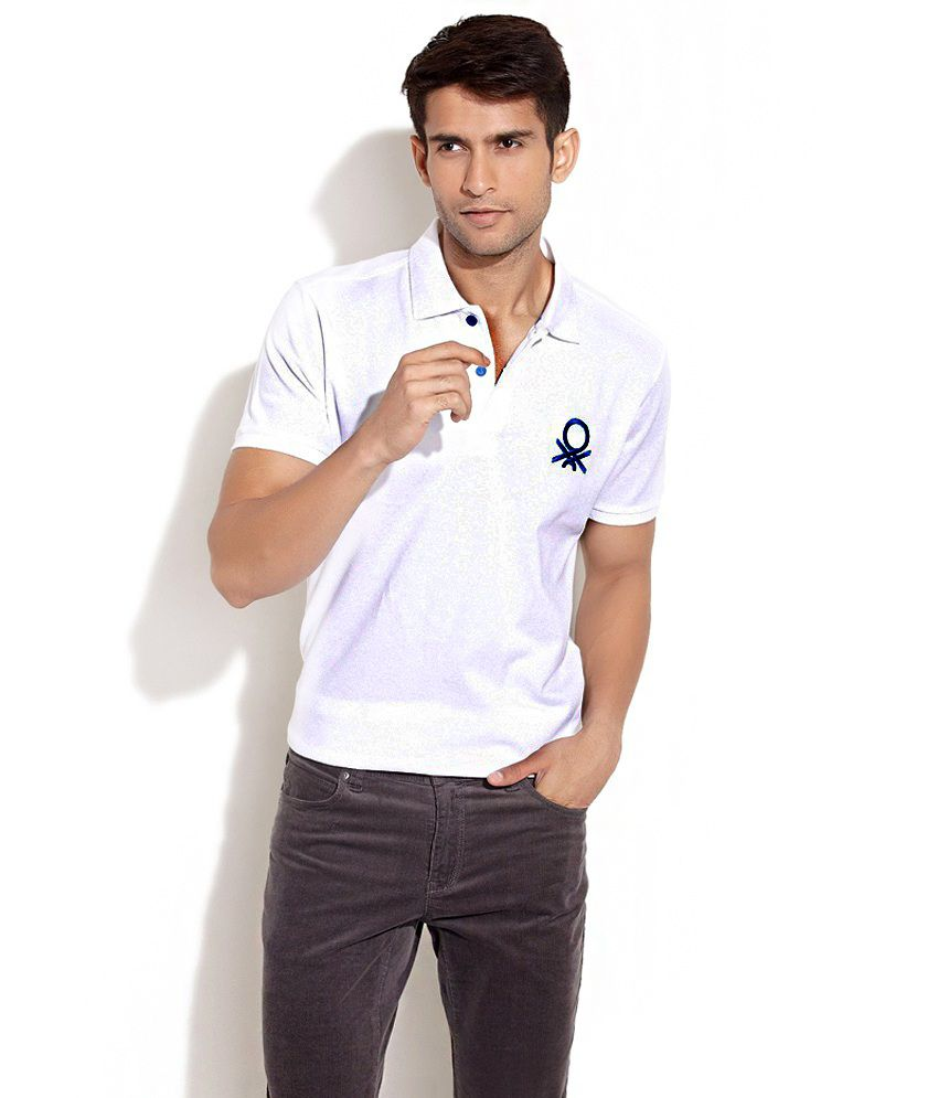 c79a72ce3b UCB - United Colors Of Benetton White Bold color Embroidered Logo Polo - T  Shirt - Buy UCB - United Colors Of Benetton White Bold color Embroidered  Logo ...