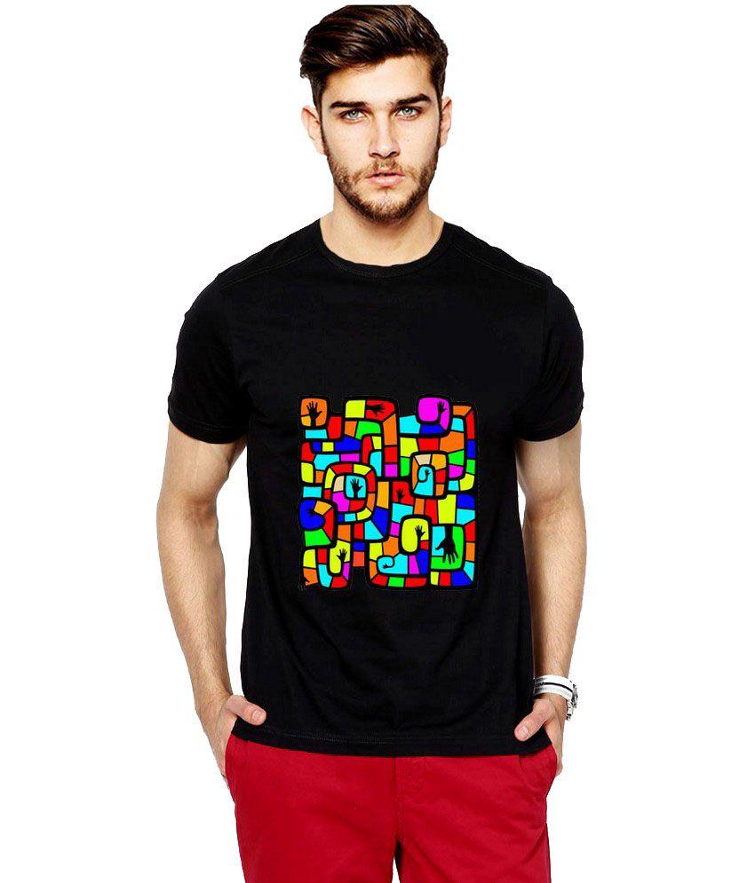 Ilyk Colorful Puzzle Men Black Printed T-shirt