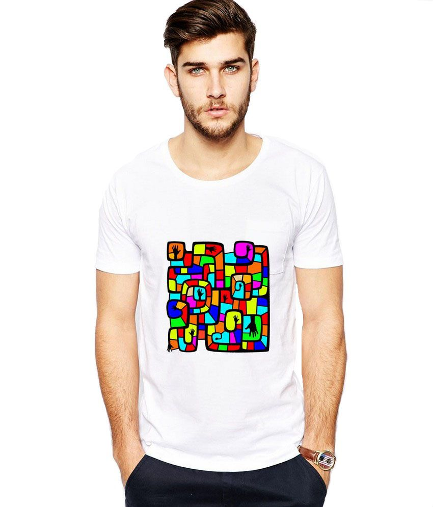 Ilyk Colorful Puzzle Men White Printed T-shirt