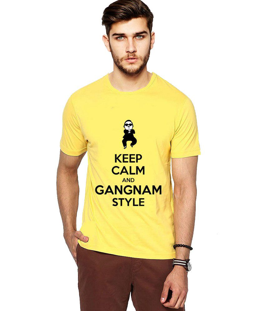 Ilyk Gangnam Style Men Yellow Printed T-shirt