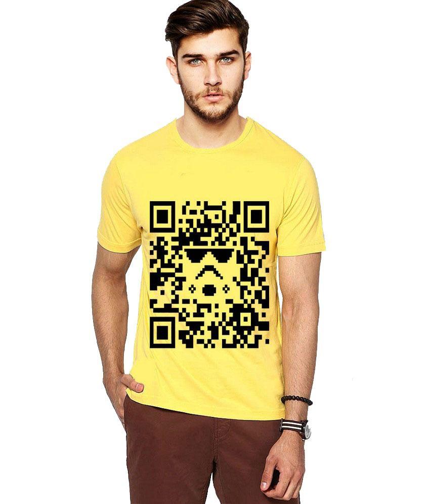Ilyk Qr Code Men Yellow Printed T-shirt