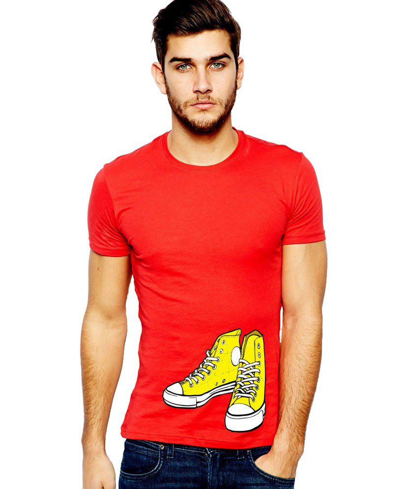 Ilyk Yellow Converse Men Red Printed T-shirt