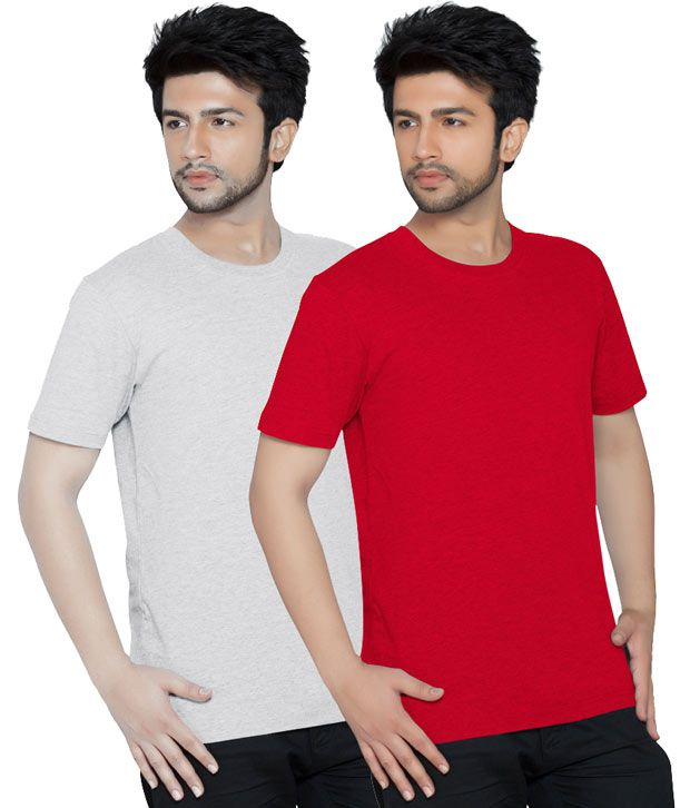 Texfit Red & Ecru Melange Round Neck Men's T-shirt - Pack Of 2
