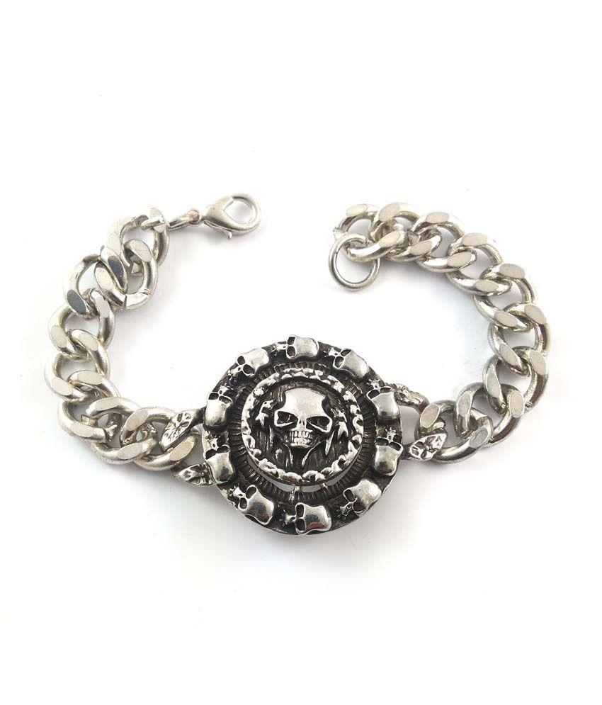 Ammvi Creations Skull Regime Rotating Plate Stainless Steel Links Bracelet For Men