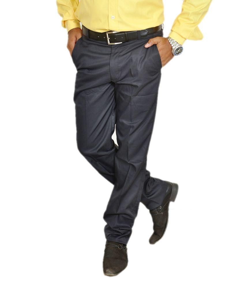 Review Dark Navy Blue Slim Formals Trouser