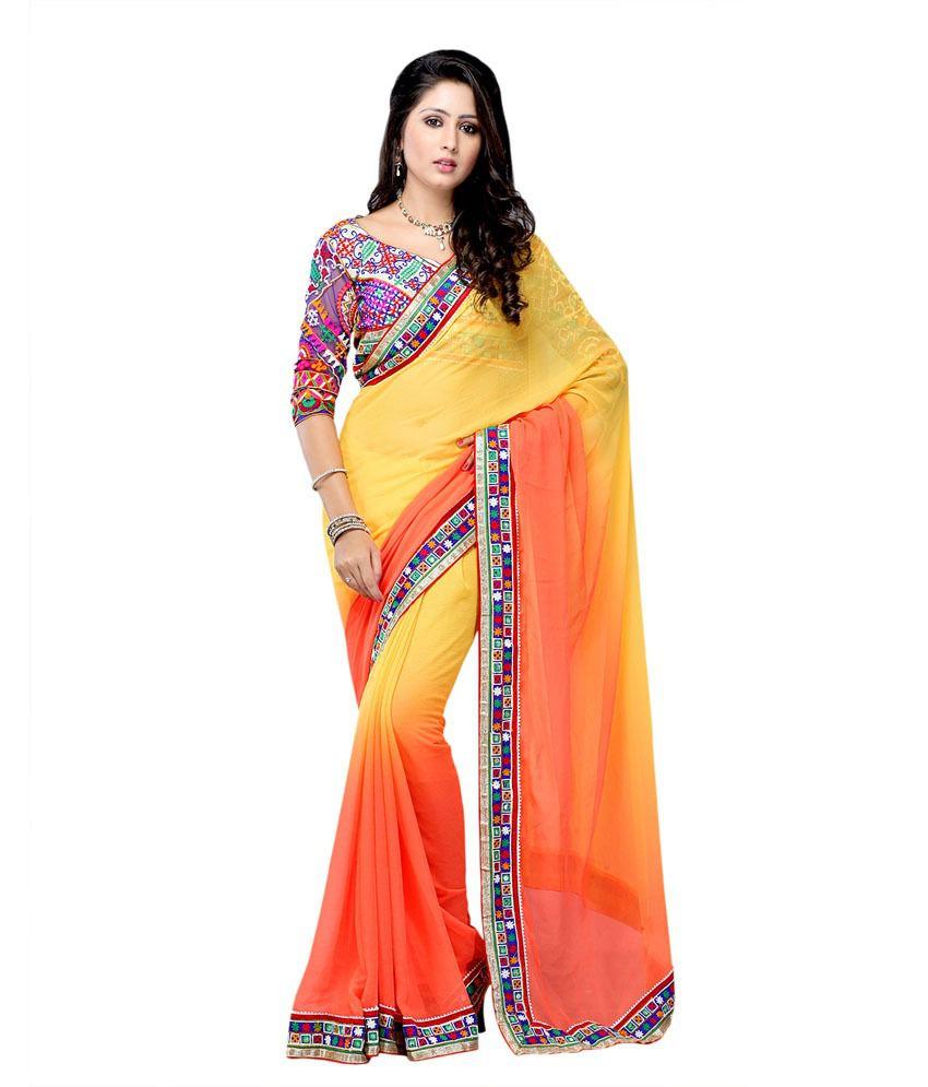 Suvastram Multicoloured Chiffon Saree