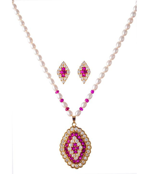 Krishna Pearls And Jewellers Multicolor Style Diva Pearl Necklace Set