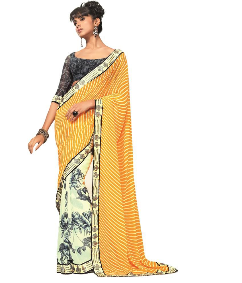 subh selection Yellow Faux Georgette Saree