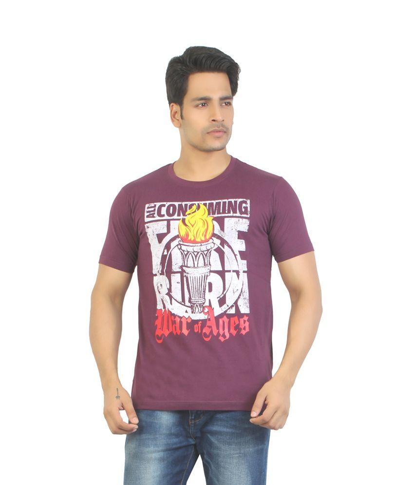 Aliep stylish maroon printed half sleeves t shirt for men for Maroon t shirt for men